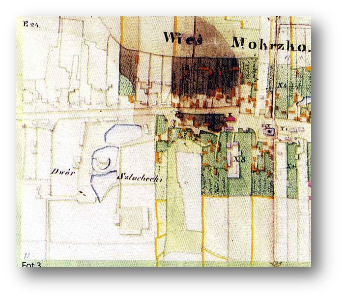 Historical map of the area Mokrsko commune
