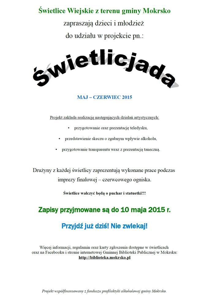 Zaproszenie do udziału wŚwietlicjadzie 2015!